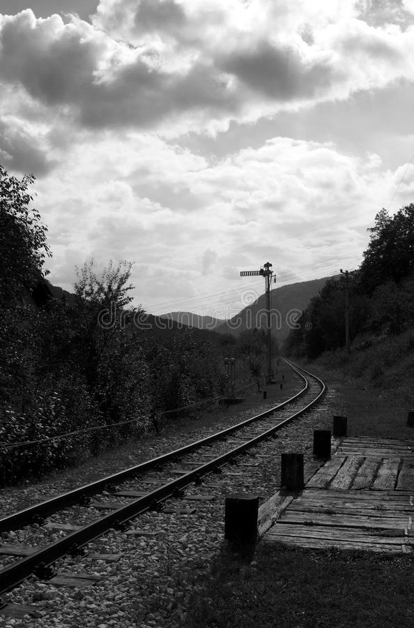 Railway in a cloudy day royalty free stock photo