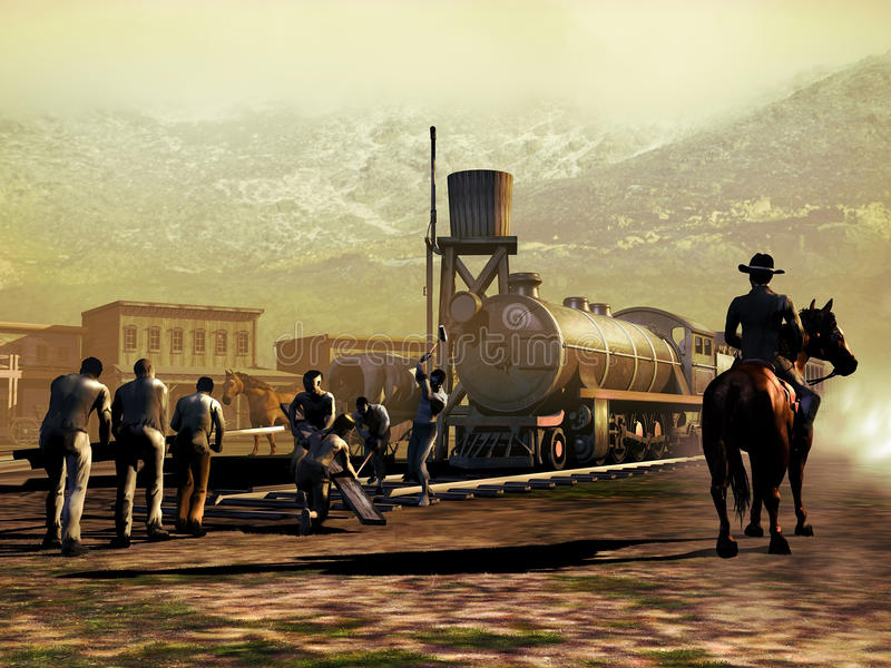 Railway construction. Busy workers on the construction of a railway in the far west, close to a little town, at the foot of the mountains. A man on his horse vector illustration