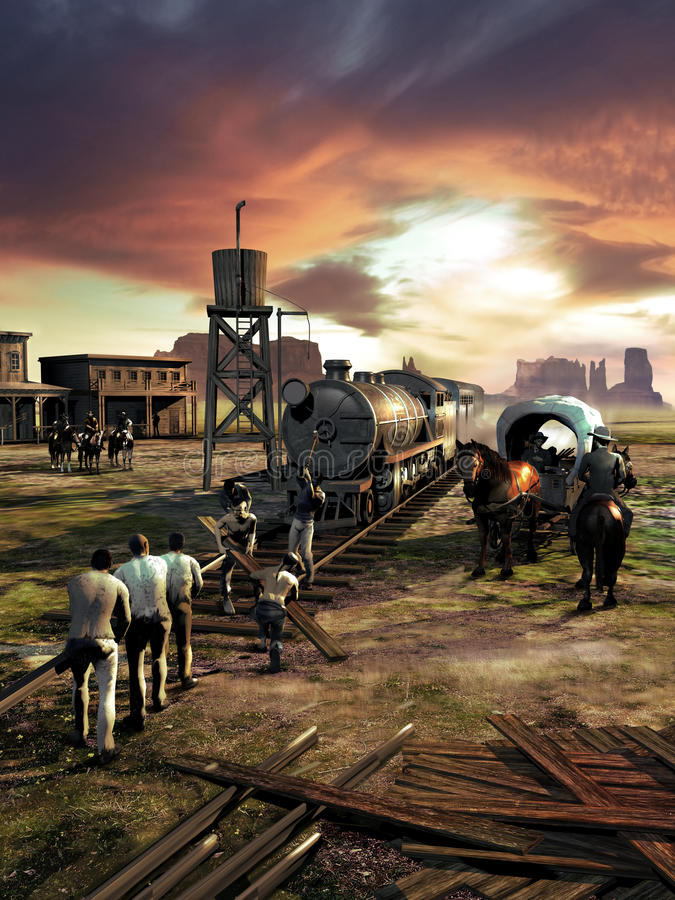 Railway construction. Busy workers on the construction of a railway in the far west, close to a little town, at the foot of the mountains. A man on his horse royalty free illustration