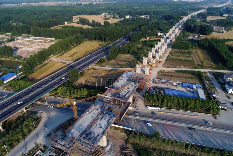 Railway construction site in huaian city, jiangsu province, China. stock illustration