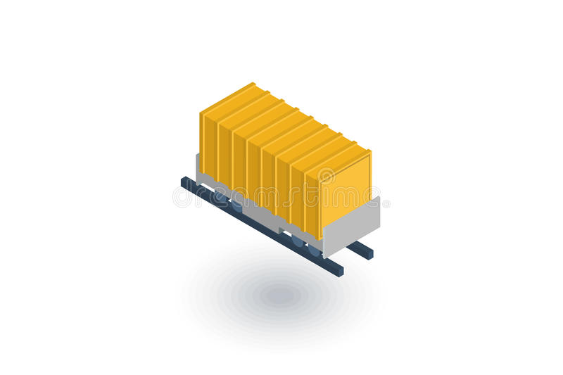 Railway container, wagon load isometric flat icon. 3d vector. Colorful illustration. Pictogram isolated on white background royalty free illustration