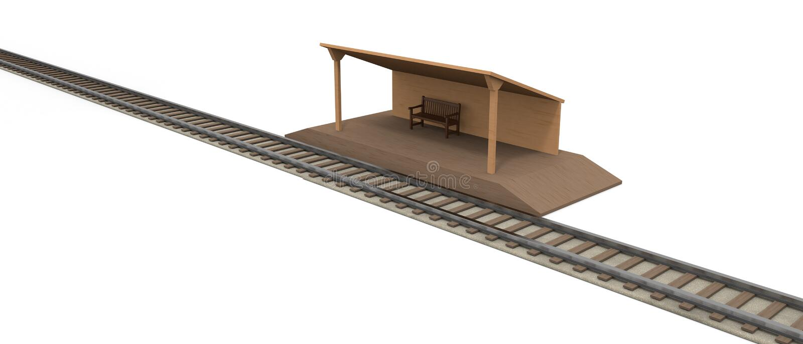 Railway Countryside station 3D illustration. Countryside station. I will go home. A lonely station. Head to the destination. Transportation facilities. A decided vector illustration