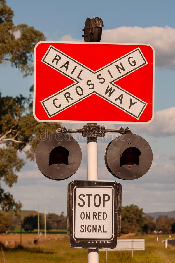 Railway crossing 4 - Australian signs found along the road royalty free stock photos