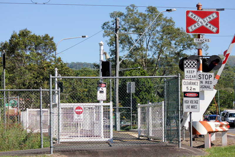Railway Crossing Country Town royalty free stock photos