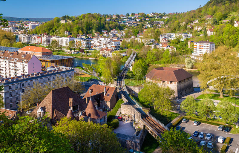 Railway crossing the Doubs river in Besancon. France stock photos
