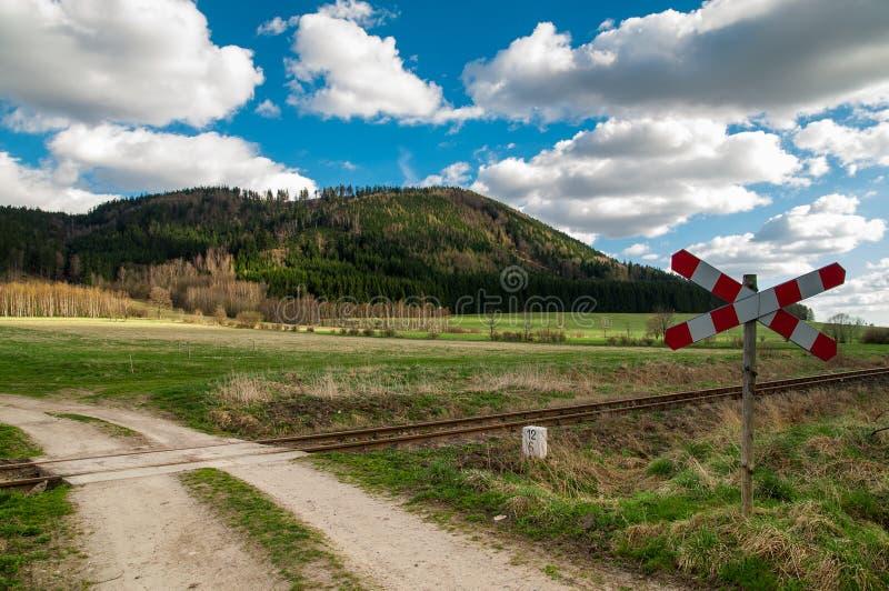 Railway crossing, Lubawka royalty free stock photo