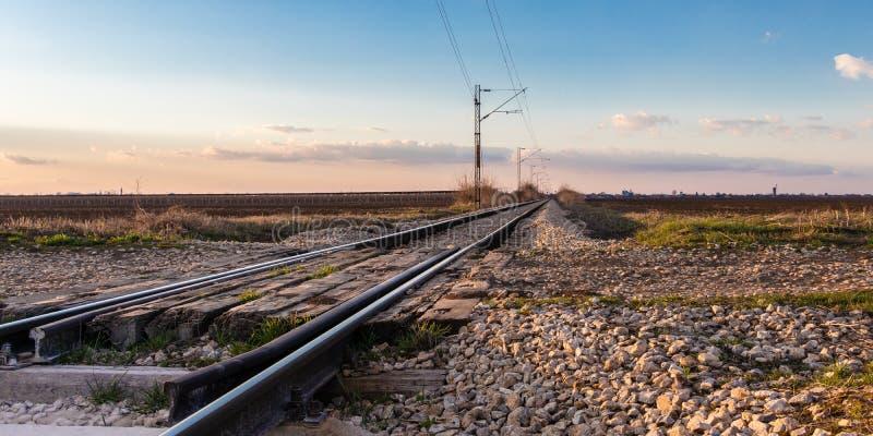 Railway crossing near Novi Sad in March, Serbia stock images