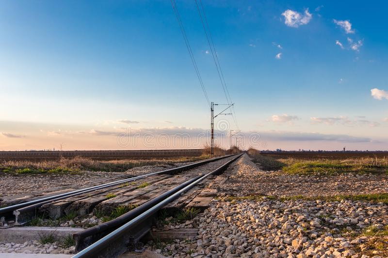Railway crossing near Novi Sad in March, Serbia stock photos