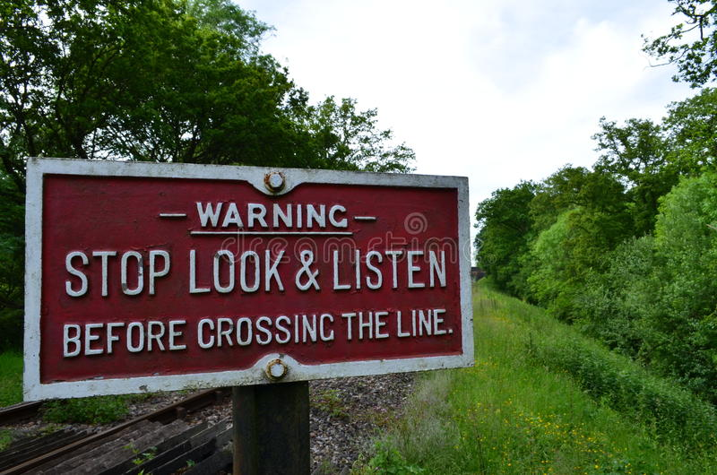Railway crossing sign. stock photography