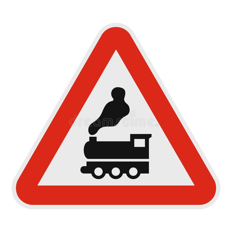 Free Railway Crossing Without Barrier Icon, Flat Style. Stock Photo - 106970340