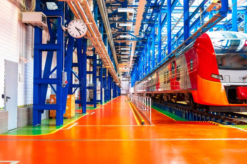 Railway depot of electric trains of the Russian Railways, stock images