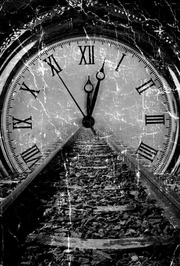 Railway disappear in watch. Grunge old art decay black and white stock image