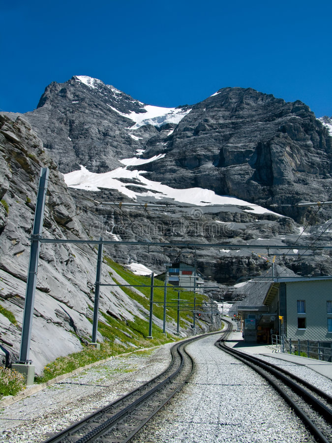 Railway in Eiger mountain royalty free stock photos