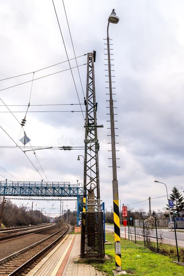 Railway electric pylon on Slovak station stock photos