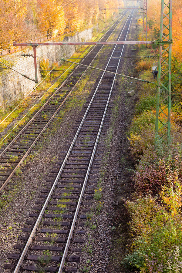 Railway Embankment in Fall royalty free stock photo