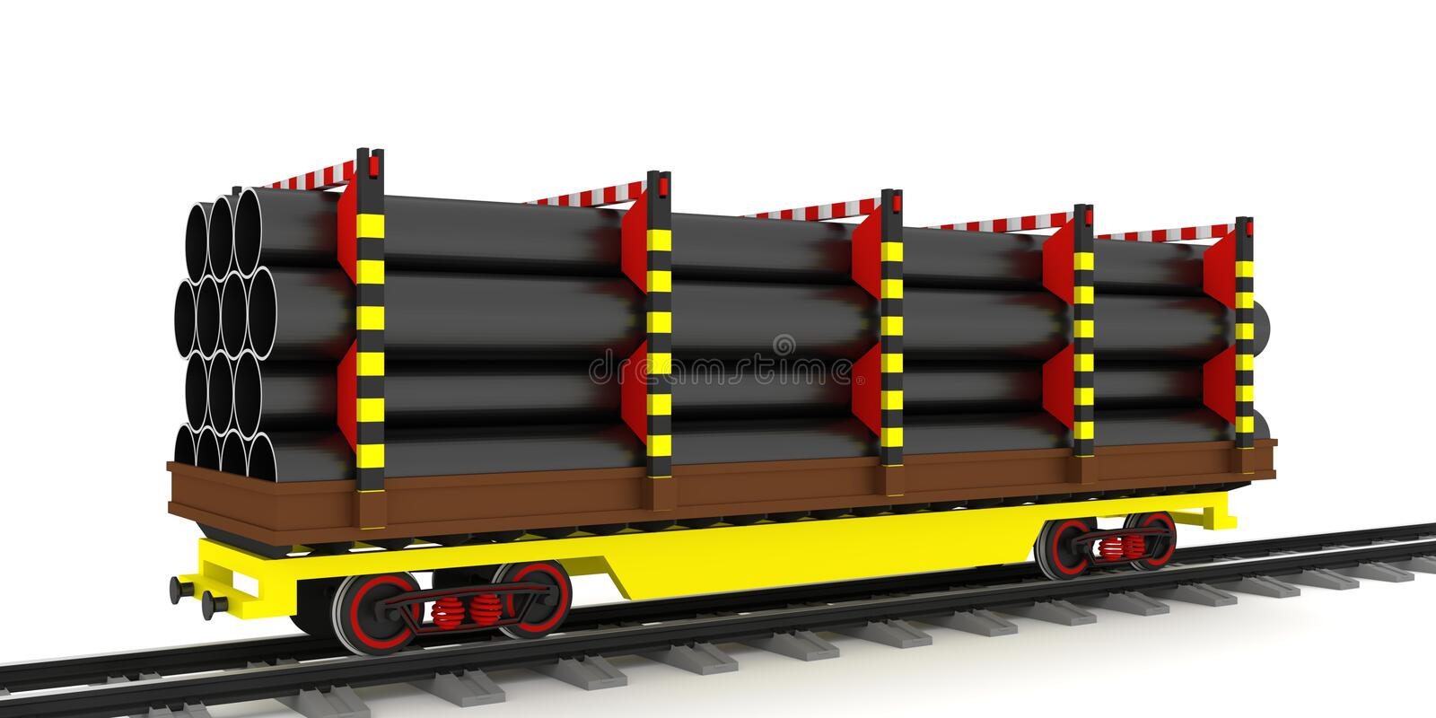 Railway freight wagon, transportation steel pipes vector illustration