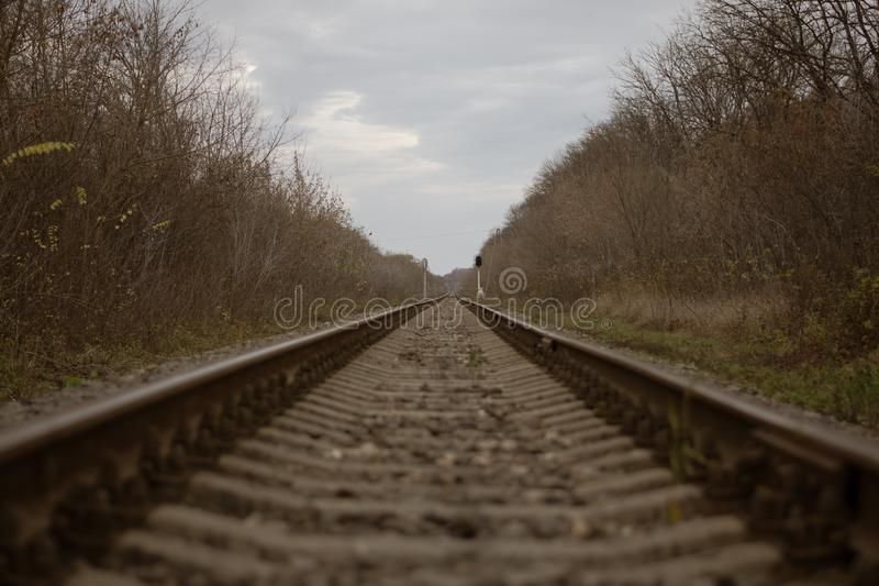 The railway goes into the distance.  royalty free stock images