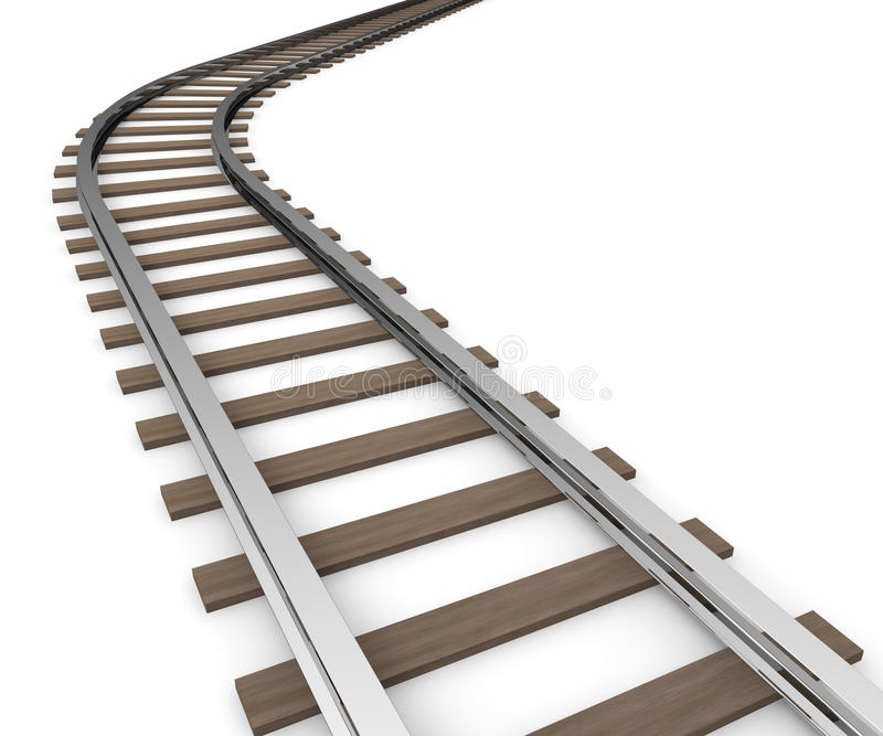 Railway. I decide the course of their own. Long line. Long way to go. Line the train run. Road leading to the future. Course of their own. Line simple. I go in a royalty free illustration