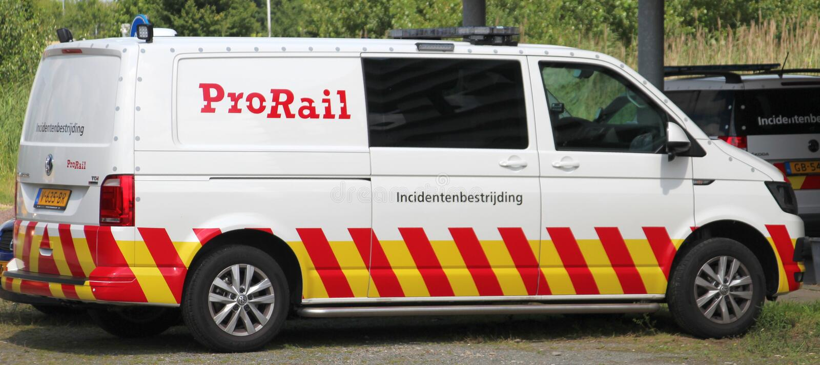 Railway incident vehicle of ProRail organization in the Netherlands. stock image
