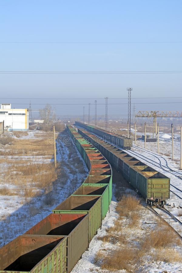 Railway interchange in the industrial area of the city. Russia. Siberia. Winter stock photography