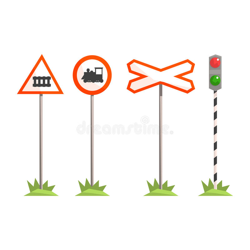 Railway intersection signs, different traffic signs for a railroad crossing. Colorful cartoon illustration stock illustration