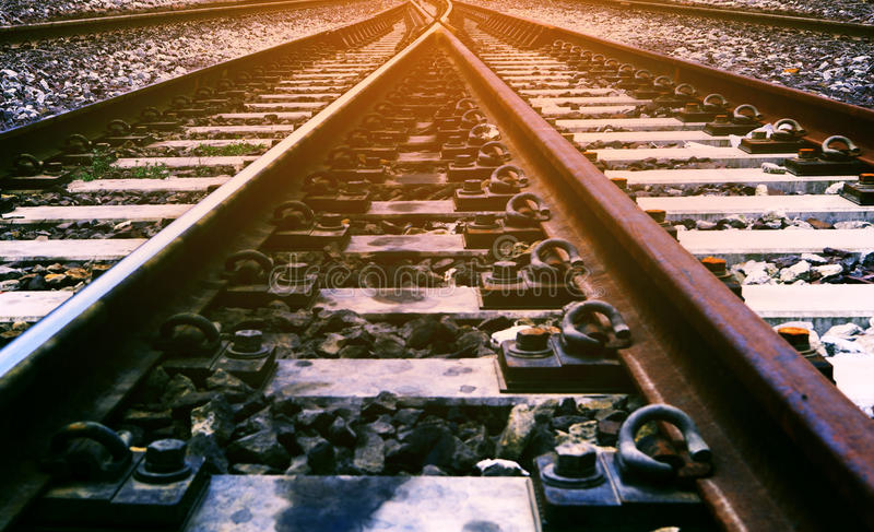 Railway junction use for transportation and transport of rail in royalty free stock photo