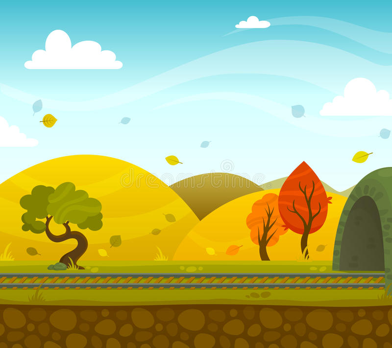 Railway Landscape. Autumn railway 2d game landscape with roadway and hills on background flat vector illustration royalty free illustration