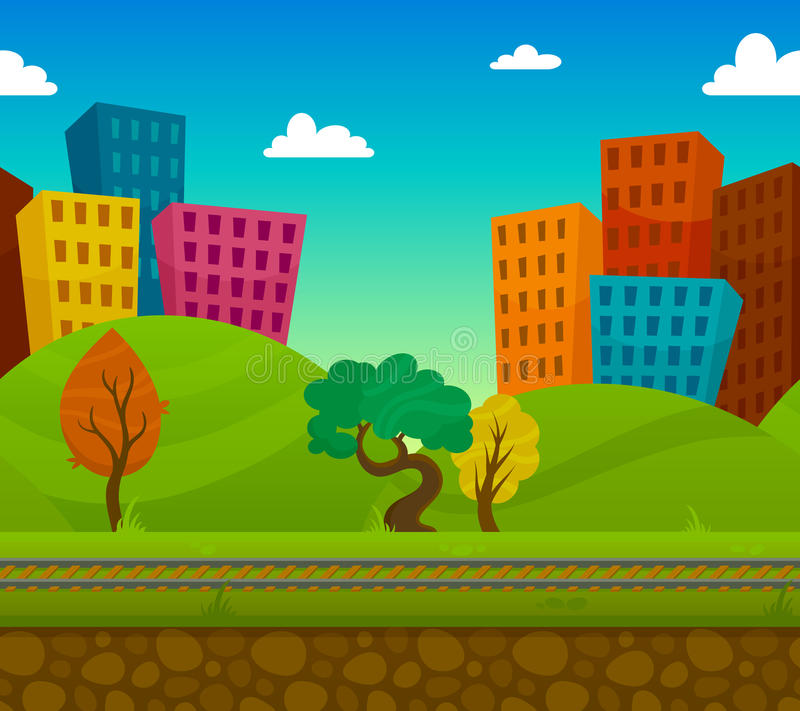 Railway Landscape. Railway 2d game landscape with city houses on background flat vector illustration stock illustration