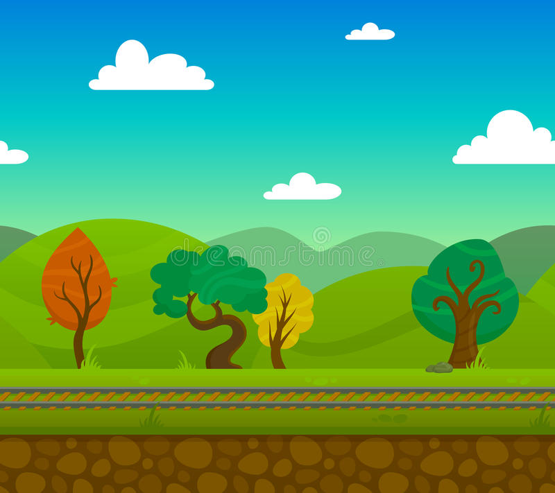 Railway Landscape. Railway game 2d landscape with trees and hills on background flat vector illustration stock illustration