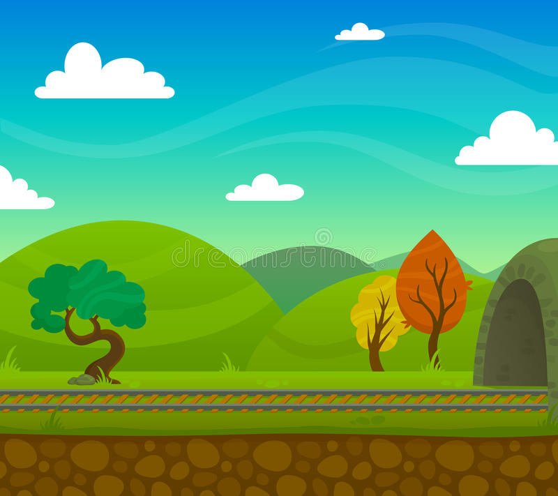 Railway Landscape Illustration. Countryside railway landscape with roadway and hills on background flat vector illustration stock illustration