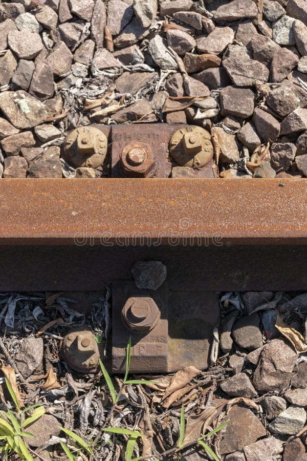 A railway line. A close view of a small part of the railway line stock photography