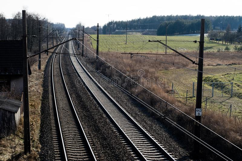 Railway line for high-speed rail trains. Railway line and electric traction, which is located above the track. royalty free stock photo