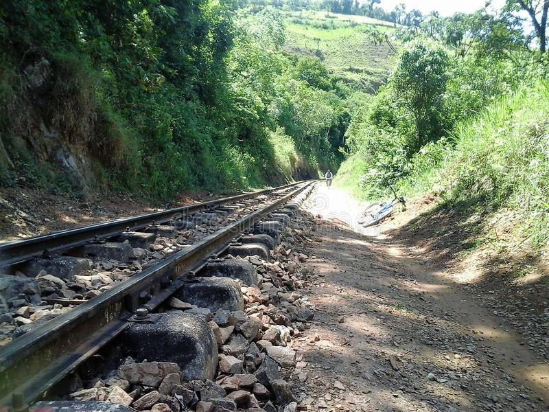 Railway line in São Lourenço, Minas Gerais, Brazil royalty free stock photography