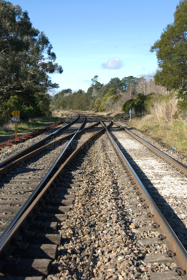 Railway Lines. The main Sydney to Melbourne rail lines at Bundanoon, New South Wales, Australia stock image