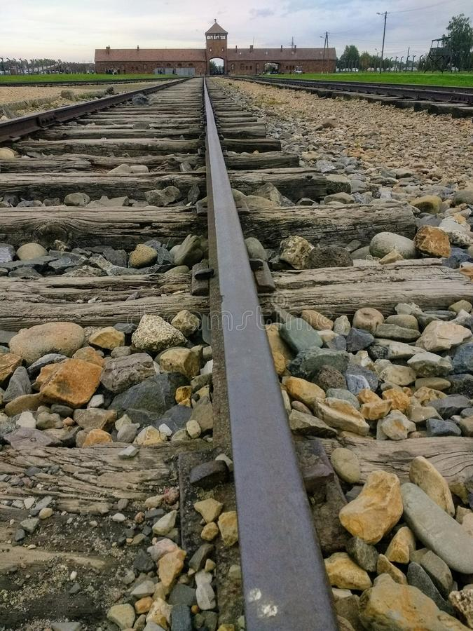 Railway lines birkenau. Railway lines  birkenau death ww2 royalty free stock photography