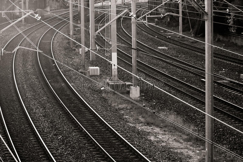 Download Railway Lines In Black And White Royalty Free Stock Photography - Image: 21197727