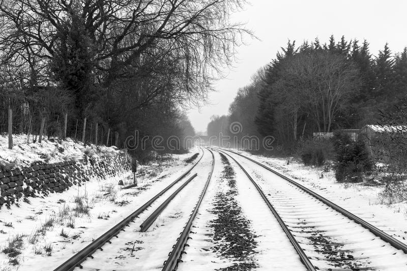 Railways in the Snow royalty free stock photography