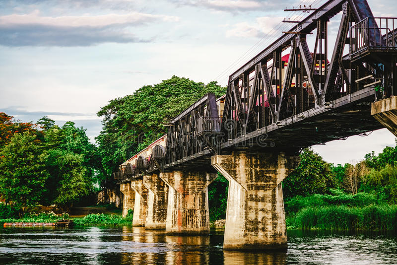 Railway metal bridge of world war history, River Kwai, Kanchanaburi, Thailand stock photos