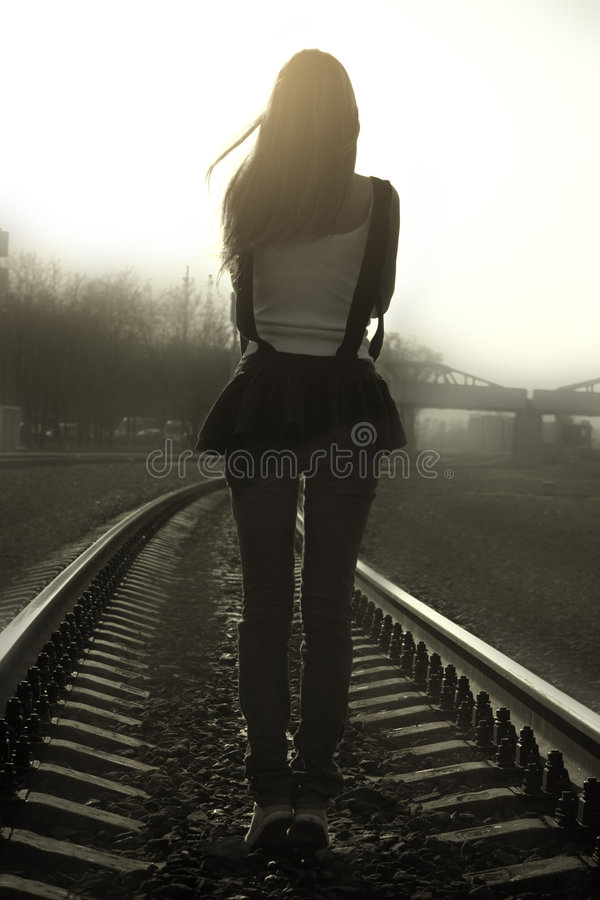 Railway Mistery Girl Stock Image