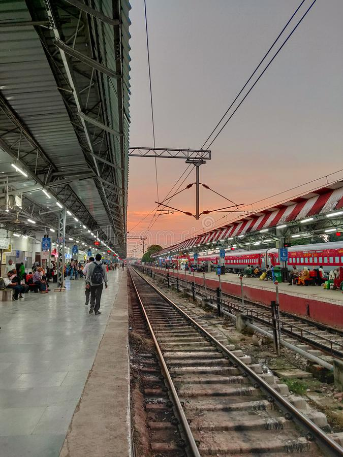 Railway platform of India stock images