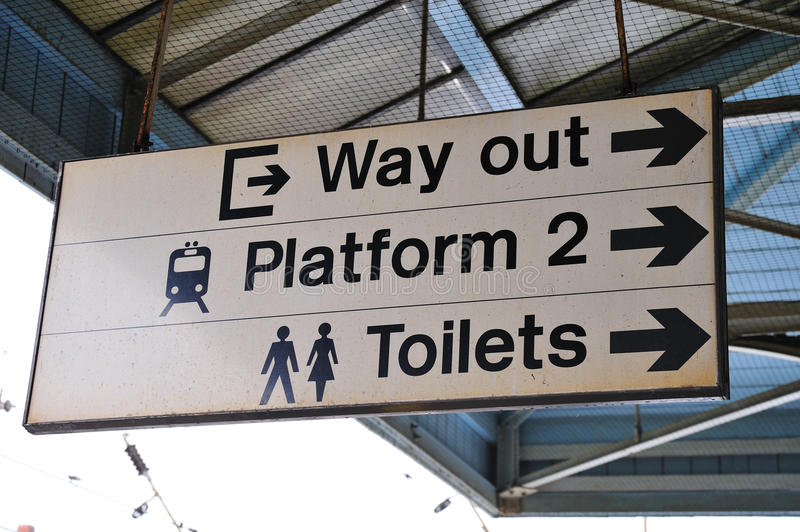 Railway Platform Sign. For Way Out Toilets and other platform royalty free stock image