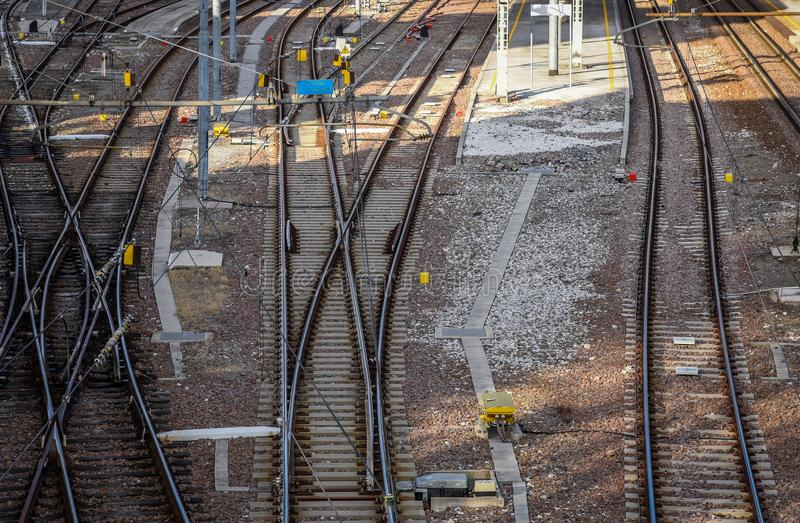 Railway pointwork, railway tracks, high-speed rail.  royalty free stock photography