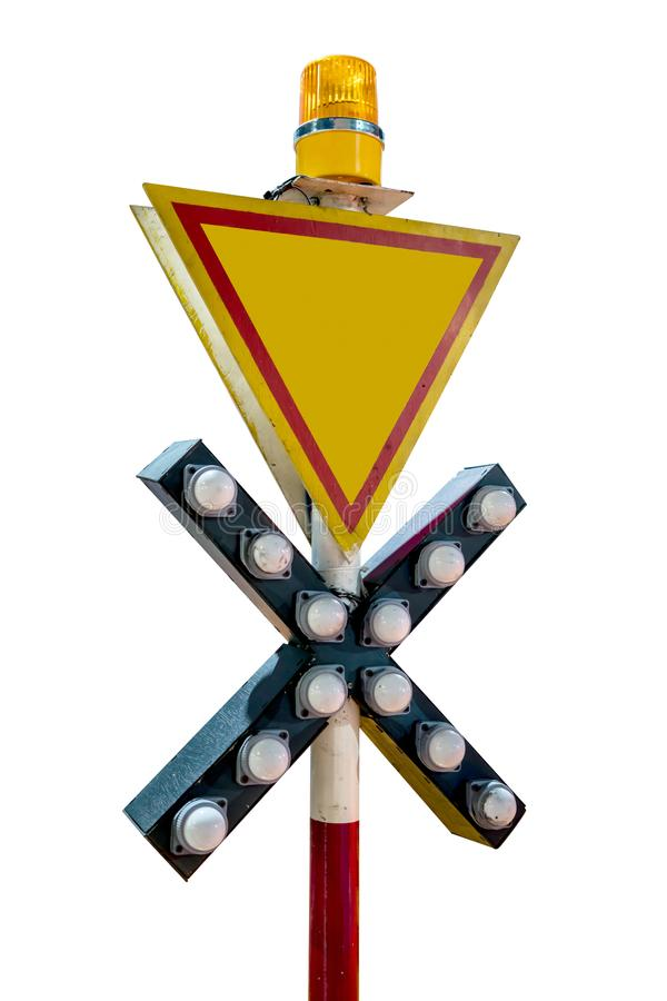 Railway or Railroad Crossing sign isolated on white stock images
