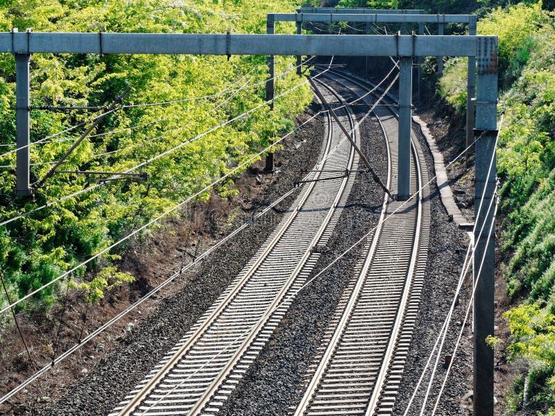 Railway curve track stock photos