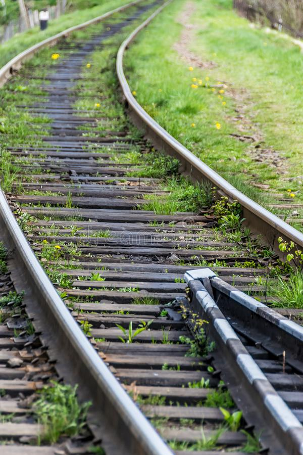 Railway rails close up royalty free stock photography
