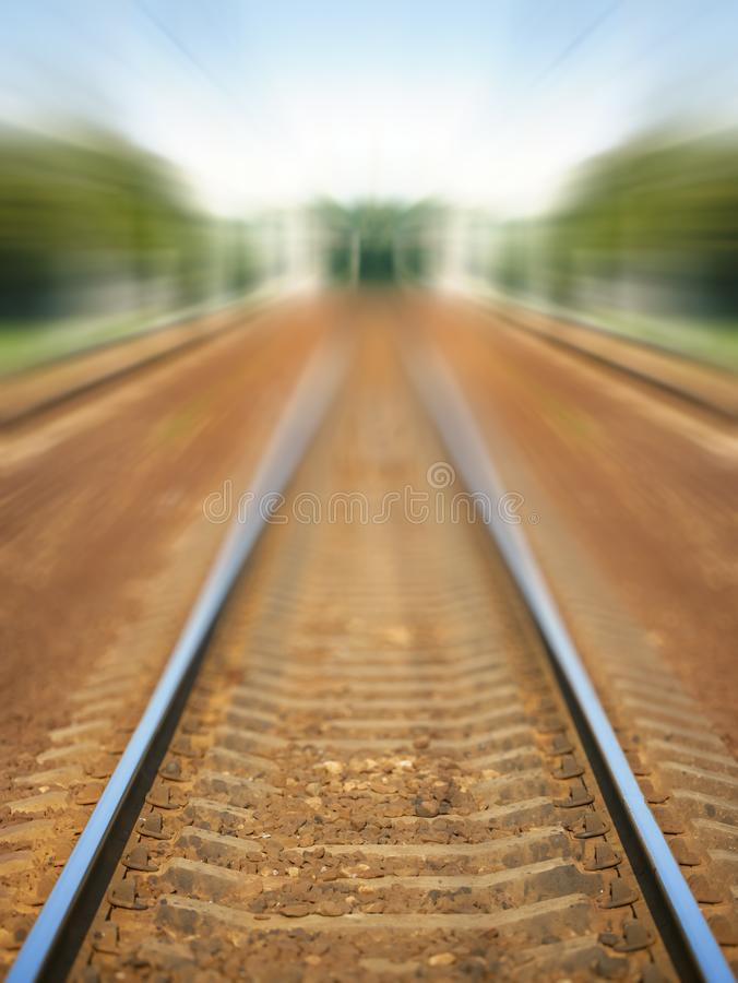 Railway rails. With high speed blur stock photography