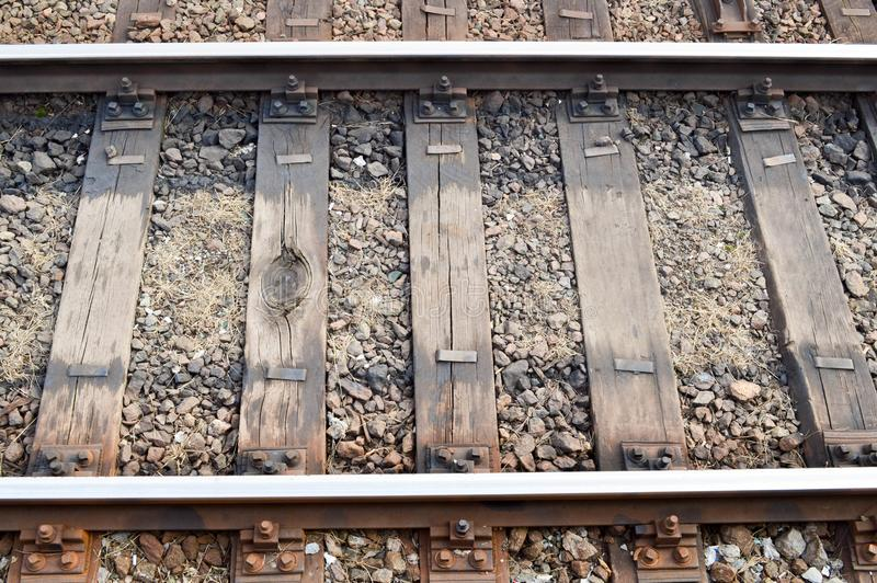 Railway rails and sleepers. Background royalty free stock photos
