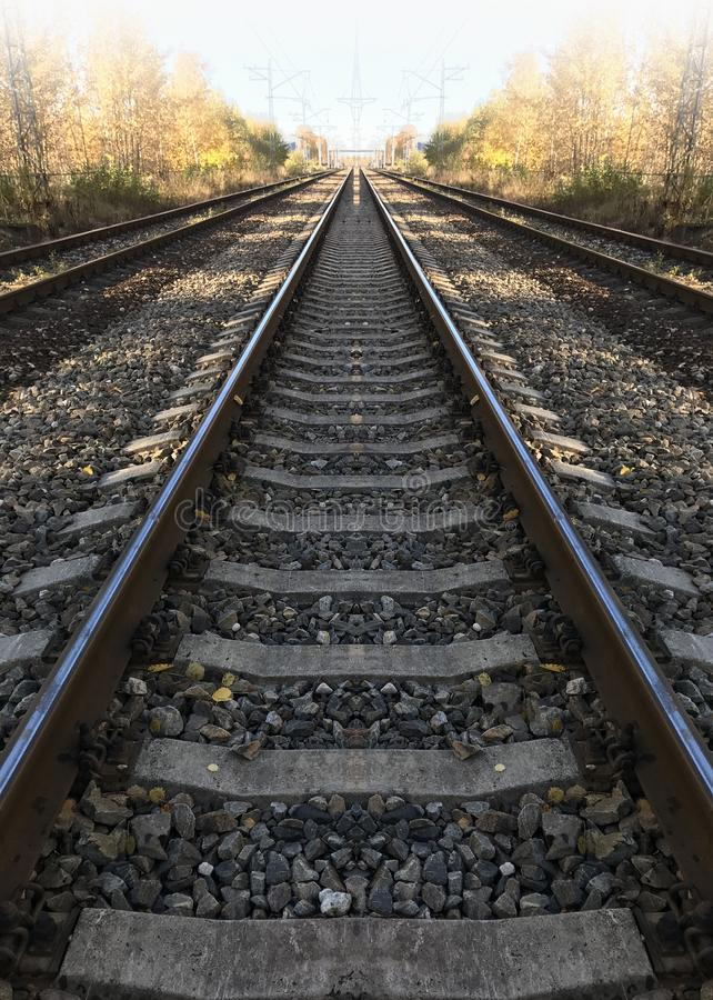 Railway rails straight ahead, perspective royalty free stock photography