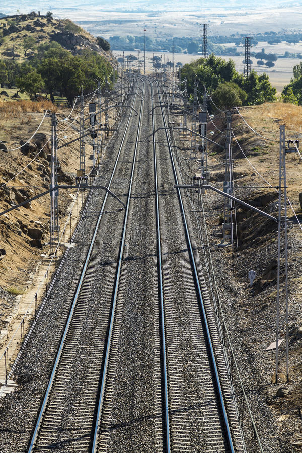 Railway road. Is alleged in the horizon, vertical stock image