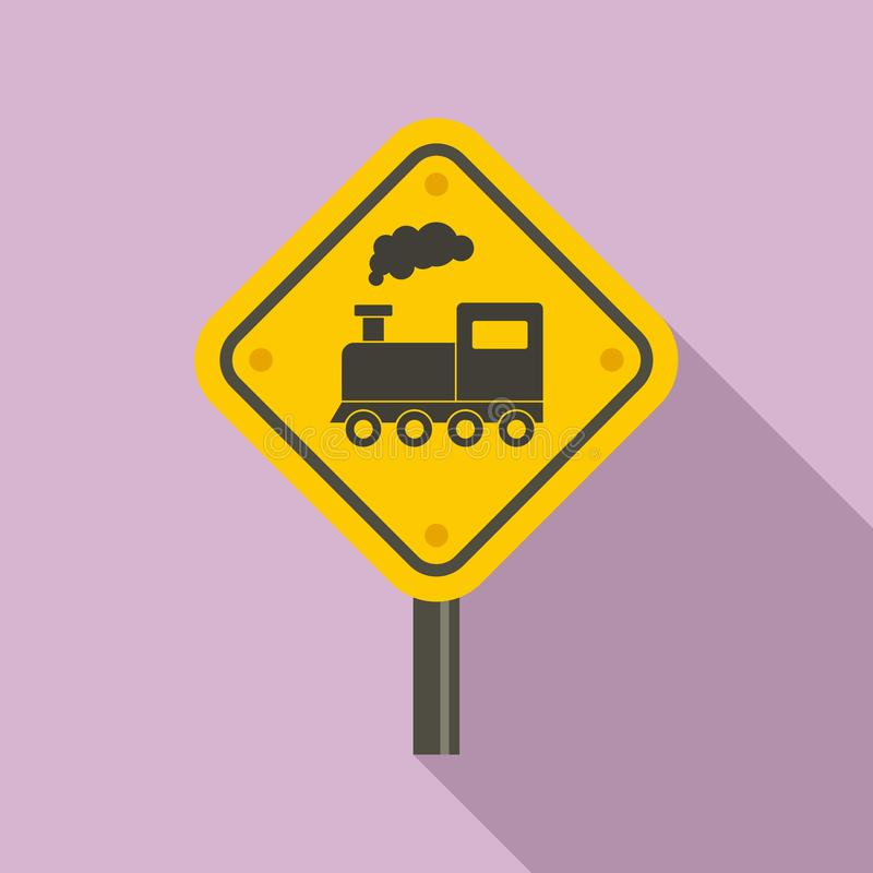 Railway road sign icon, flat style stock illustration